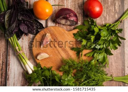 Vegetal quadro tomates verde salsa carta Foto stock © vkstudio