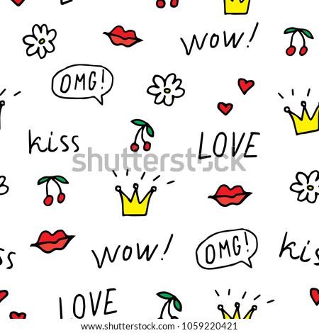 Firka kézzel rajzolt szeretet szépség minta szívek Stock fotó © karetniy
