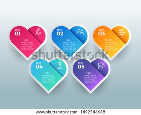 Colorful diagram, infographic template. Love infographic template with 6 steps. Heart workflow proce Stock photo © ukasz_hampel