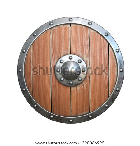 Round wooden shield with metal rivets isolated on white. Medieval knight armor Stock photo © orensila