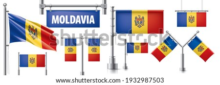 Vector set of the national flag of Moldavia in various creative designs Stock photo © butenkow