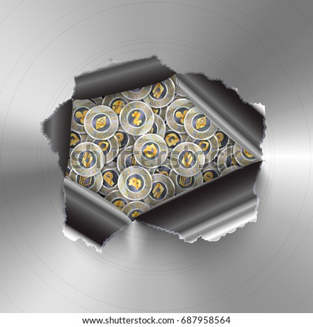 Torn hole in round polished metal plate on many coins with microchip pattern and most popylar crypto Stock photo © evgeny89
