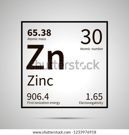 Zinc chemical element with first ionization energy, atomic mass and electronegativity values ,simple Stock photo © evgeny89