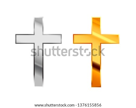 Orthodox religious signs made from glossy silver and gold metall on white Stock photo © evgeny89