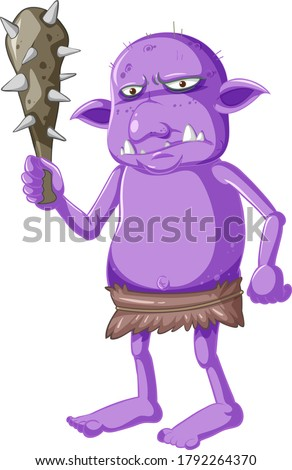 Purple goblin or troll holding hunting tool in cartoon character Stock photo © bluering