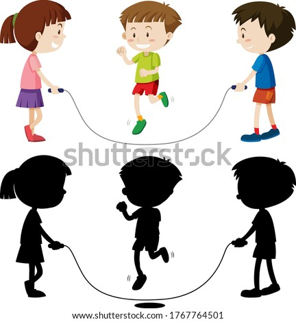 Three kids playing jump rope in color and in outline and silhoue Stock photo © bluering