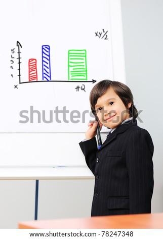 little kid drawing a diagram on a whiteboard future presentation stock photo © zurijeta