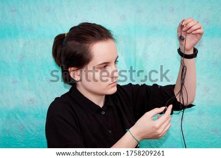 Portret mooie vrouw koord computer kantoor meisje Stockfoto © HASLOO