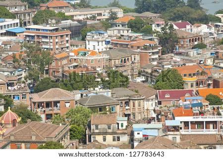 Photo stock: île · Chine · beaucoup · bâtiments · construction · orange