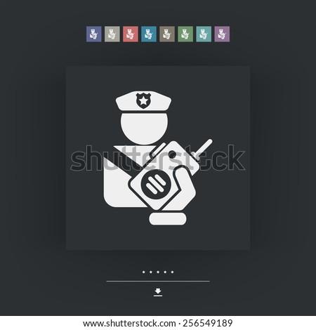 Policeman communicate by walkie-talkie radio. Vector illustratio Stock photo © leonido