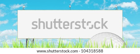 Advertising of golf events : blank billboard and golf ball. Pano Stock photo © moses
