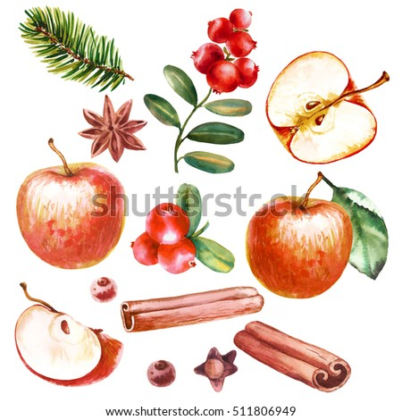 christmas decoration red apple, cinnamon, anise and tree on red background Stock photo © juniart
