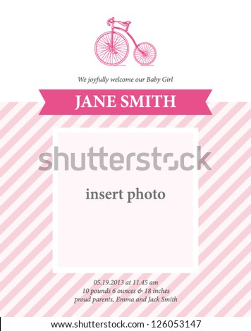 Baby girl birth announcement card template with bicycle illustration stock photo © thecorner