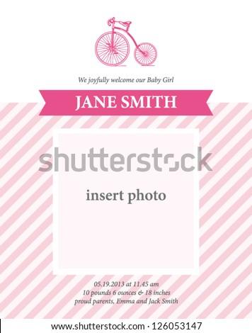 Menina nascimento anúncio cartão modelo bicicleta Foto stock © thecorner