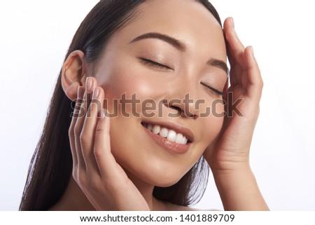 женщину прикасаться щека глядя природного Сток-фото © wavebreak_media
