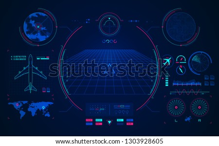 Background with the navigator radar for plane and aircraft vector Stock photo © krabata