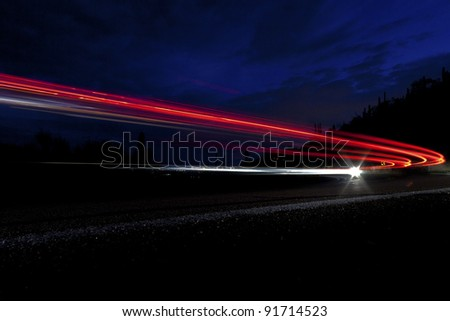 car light on interstate in mountain desert  landscape in Arizona Stock photo © meinzahn