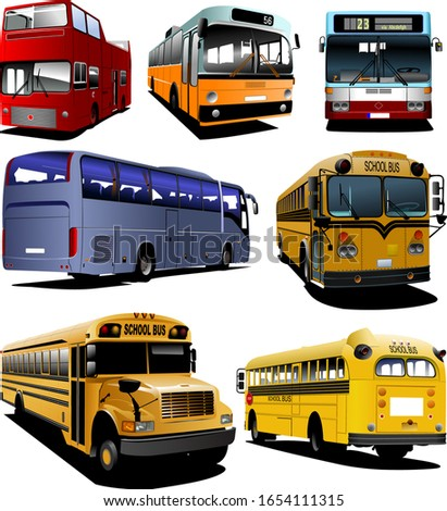 Seven city buses. Coach. School bus. Vector illustration for des stock photo © leonido