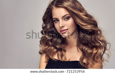 hair beautiful brunette girl healthy long brown curly hair be stock photo © victoria_andreas