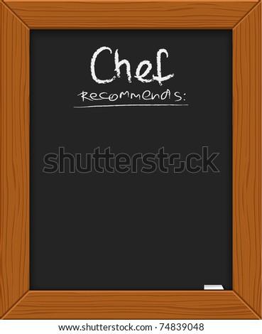 menu recommendations on blackboard with frame illustration desig stock photo © alexmillos