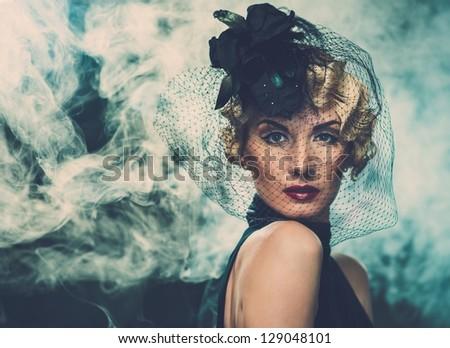 красоту · брюнетка · женщину · черный · вуаль · красный - Сток-фото © victoria_andreas
