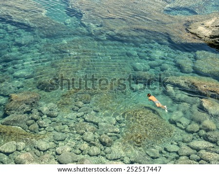people diving in a natural basin in the rocks coastline of lanza stock photo © meinzahn