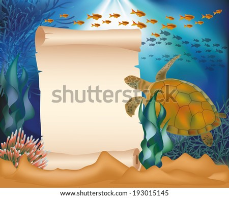Underwater card with turtle and old paper scroll, vector illustration Stock photo © carodi