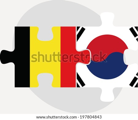 Belgian and South Korean Flags in puzzle isolated on white backg Stock photo © Istanbul2009