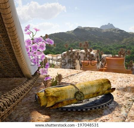 Ancient Architecture With Sunbed Concept Tourism Vacation Background Stok fotoğraf © denisgo