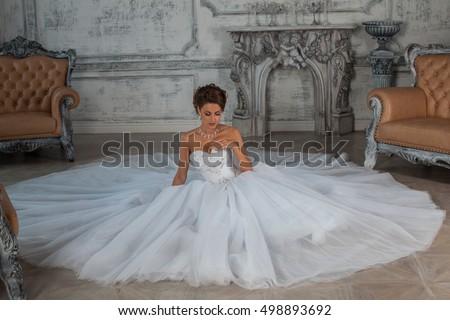 Portrait of beautiful bride in magnificent wedding dress. Black  Stock photo © Victoria_Andreas