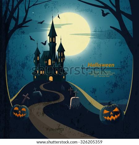 Halloween night wallpaper with haunted house, vector illustration Stock photo © carodi
