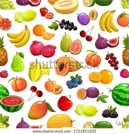 Seamless fruit pattern of pineapples, lemons, pomegranates, cherries Stock photo © elenapro