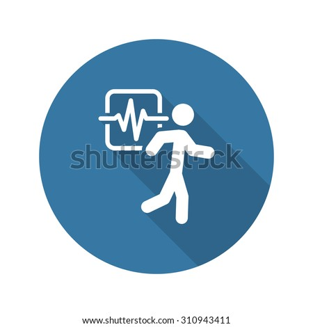 Cardio Workout and Medical Services Icon. Flat Design. Long Shad Stock photo © WaD
