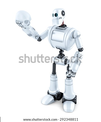 Robotic holding a human skull. Isolated. Contains clipping path Stock photo © Kirill_M