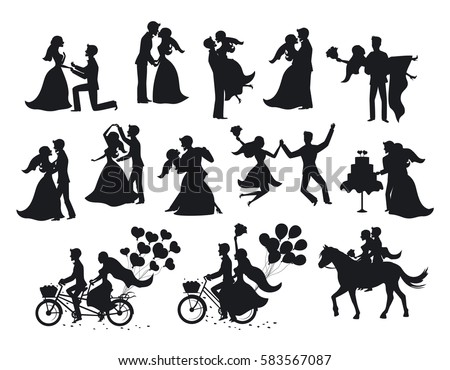 Black silhouette of a bride in a wedding dress holding a boquet  Stock photo © Morphart