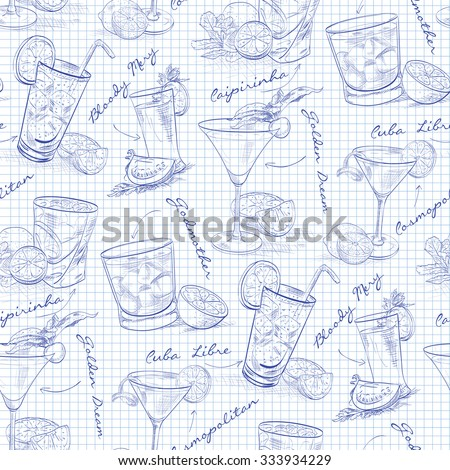 scetch pattern contemporary classic cocktails on notebook page stock photo © netkov1