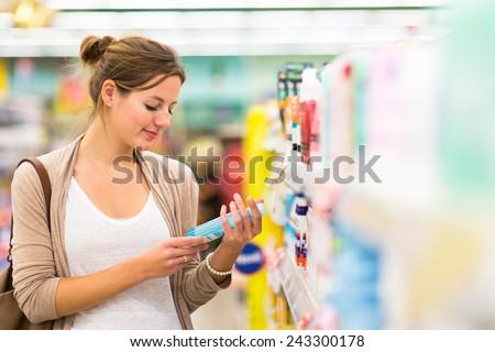 csinos · fiatal · nő · vásárlás · gyümölcsök · zöldségek · gyönyörű - stock fotó © vlad_star