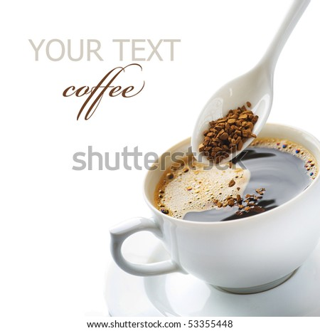 granules of instant coffee, sugar and coffee in white cup isolat Stock photo © tetkoren