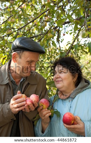 middleaged man and woman stand under apple tree with red apples stock photo © paha_l