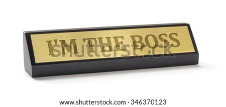A name plate on a white background with the engraving I am the b Stock photo © Zerbor