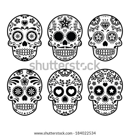 mexikói · koponya · szett · színes · koponyák · virág - stock fotó © rommeo79