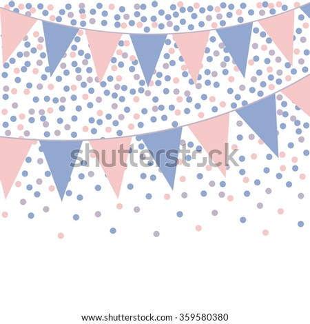 Rose quartz and serenity bunting background with confetti. Vector illustration. Stock photo © gladiolus
