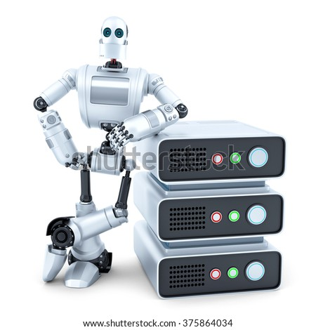 engineer with stack of servers isolated contains clipping path stock photo © kirill_m