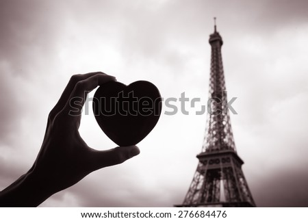 pray for paris abstract background silhouette of eiffel tower in lights and bokeh stock photo © marysan