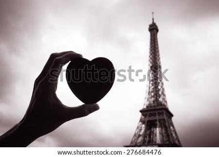 ストックフォト: 祈る · パリ · 抽象的な · シルエット · エッフェル塔 · ライト
