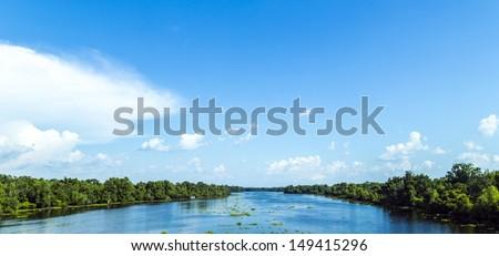 view · fiume · ampia · letto · intatto · natura - foto d'archivio © meinzahn