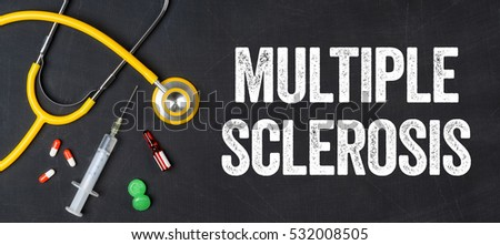 Stethoscope and pharmaceuticals on a blackboard - Multiple Scler Stock photo © Zerbor