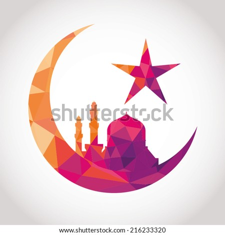 Colorful mosaic design - Mosque and Big Crescent moon, red color Stock photo © kkunz2010