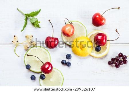 сочный · лимоны · листьев · мята · белый - Сток-фото © Yatsenko
