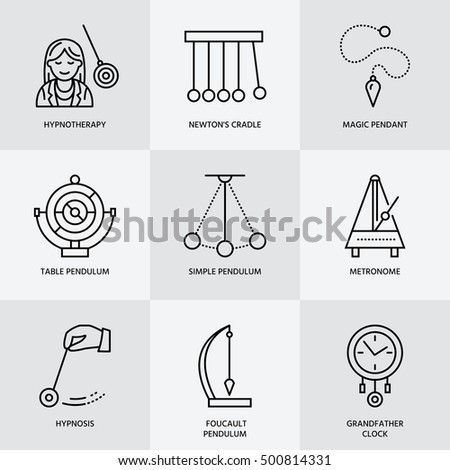 Vector line icon of pendulum types. Newton cradle, metronome, table pendulum, perpetuum mobile, gyro Stock photo © Nadiinko